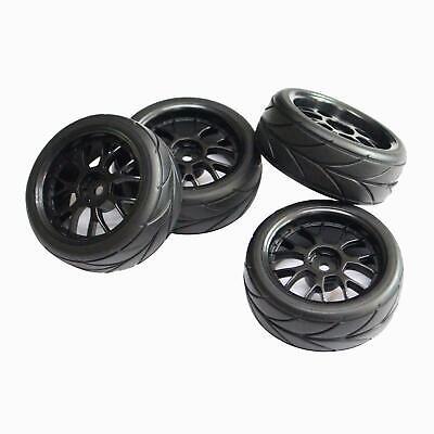 4pcs 12mm Hub Wheel Rim /& Tires for 1:10 RC On-Road Flat Racing Drift Car 20021