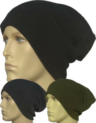 Slouch Baggy Beanie Hat Long Ribbed Warm Black Navy Grey Winter Knitted Mens