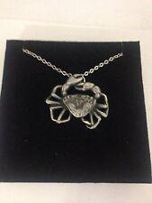 "Crab R30 Emblem Silver Platinum Plated Necklace 18"""