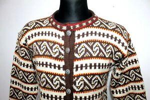 Vintage-Norway-Nordic-Cardigan-Jumper-Wool-Womens-Fair-isle-Multicolored-UK-M