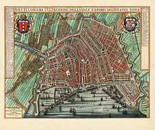 MAP ANTIQUE BLAEU AMSTERDAM CITY PLAN HISTORIC LARGE REPRO POSTER PRINT PAM0566