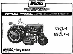 Details about WOODS Belly Mower 59CL-4 59CLF-4 Operators manual ** Fits  FARMALL CUB **