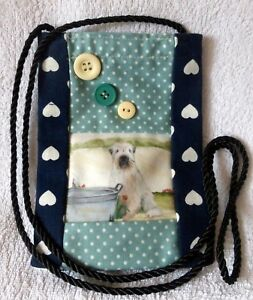 WHEATEN-TERRIER-DOG-DESIGN-FABRIC-SMART-PHONE-POUCH-BAG-SANDRA-COEN-PRINT