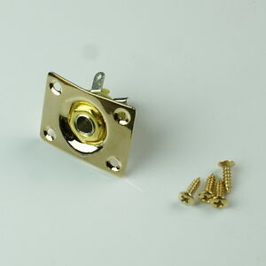 universal electric guitar output plate socket square gold plated ebay