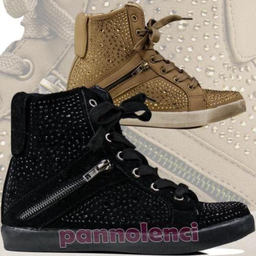 Compensé Femmes Sportif Strass Baskets Gymnastique Pour Chaussures TqR0XwZx