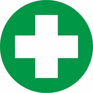 first aid symbol sign 90mm round self adhesive vinyl sticker health rh ebay co uk first aid symbol