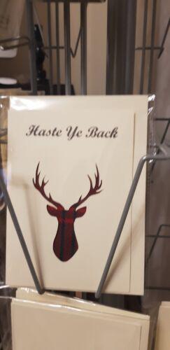 Drôle Écossais Carte de vœux avec Tissu Inlay made in Scotland Haste YE arrière.