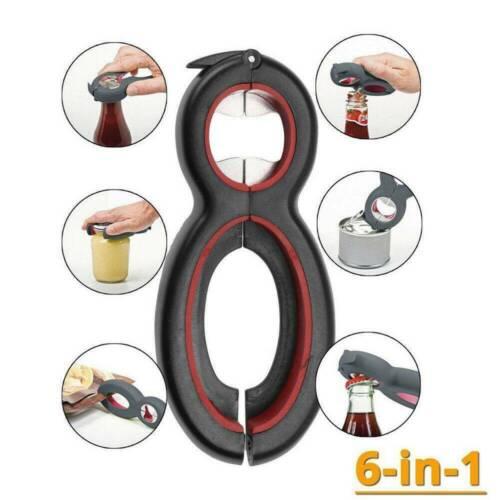 Multi Function Stainless Steel Can Opener Bottle Opener Jar Gripper 6 in 1 Tool