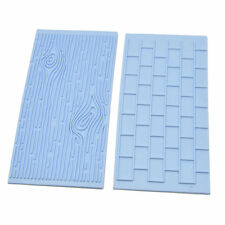 2p Brick Wall Block Wood Grain Fondant Embosser Stamp Press Cutter Mat Cake Mold