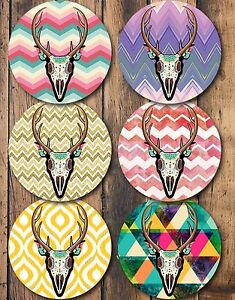 Antlers-Chevrons-Drink-Coasters-Set-of-6-Non-Slip-Neoprene-Coasters