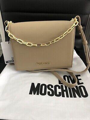 LOVE MOSCHINO schöner großer Shopper Herzen beige gold NEU