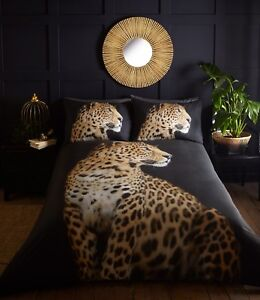 Leopard Duvet Cover Bedding Set Wildlife Animal Cheetah Yellow Black