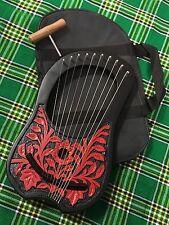 New Lyre Harp 10 Metal Strings Rosewood Engraved/Lyra Harp String Instruments
