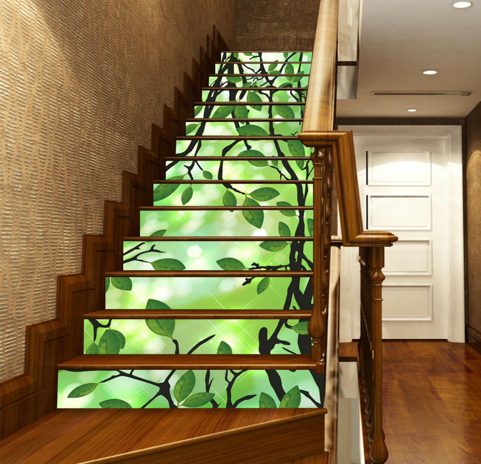 3D grne Bltter 27 Stair Risers Dekoration Fototapete Vinyl Aufkleber Tapete DE