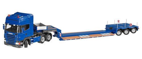 NZG 657 Scania R3-Axle Tractor con camión cama baja Nooteboom X3-A - Azul - 1/50 Menta en caja