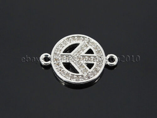 Clear Zircon Gemstones Pave Peace Sign Bracelet Connector Charm Bead Silver Gold