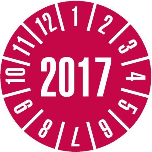 Prüfplakette 2017 rot Dokumentenfolie selbstklebend Ø35mm 60//Heft