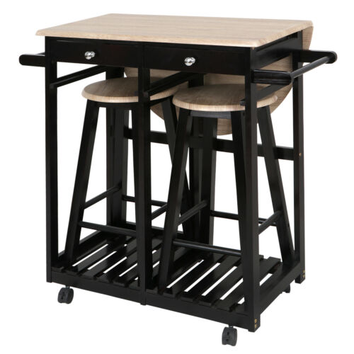 Kitchen Cart Island Rolling Home Dining Wooden Trolley Storage Modern Cabinet