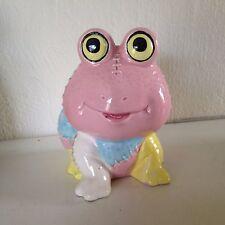 Vintage ceramic pastel patchwork frog planter