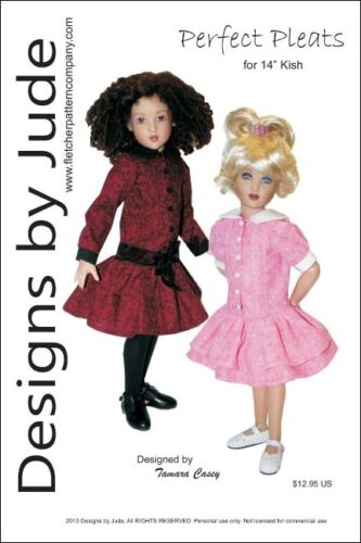 """Pleated Dress Doll Clothes Sewing Pattern 14/"""" Kish Dolls"""
