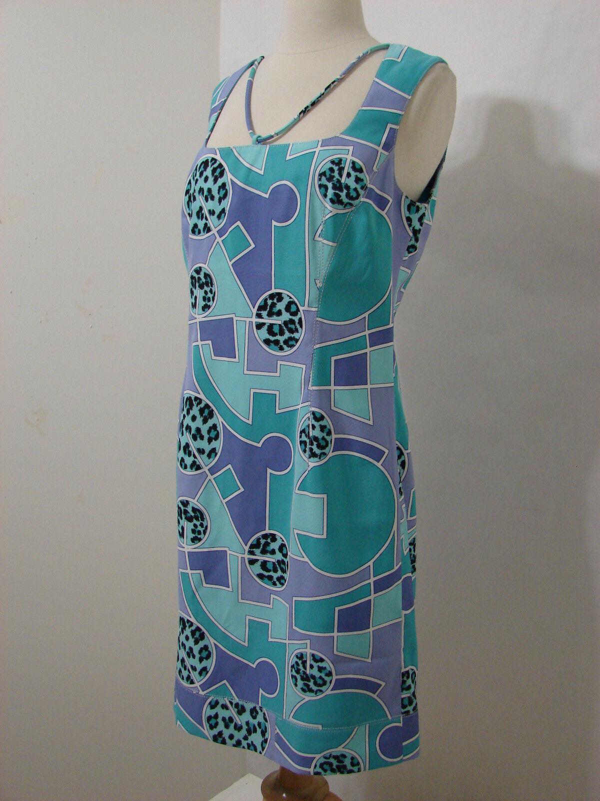 ALBERTO MAKALI Lavender Turquoise Abstract Print Sleeveless Sheath Dress NWOT 12