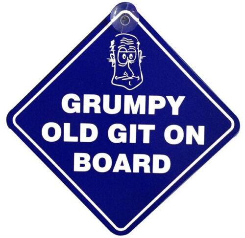 "/""Grumpy Old Git On Board/"" CAR VAN DIAMOND HANGER WINDOW SUCTION SIGN FUNNY"