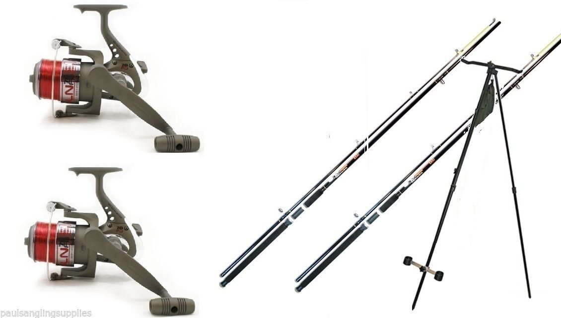 2 x 12ft Beach   Beachcaster Sea Fishing Rods + 2 LN 70 Reels Tripod   Rest