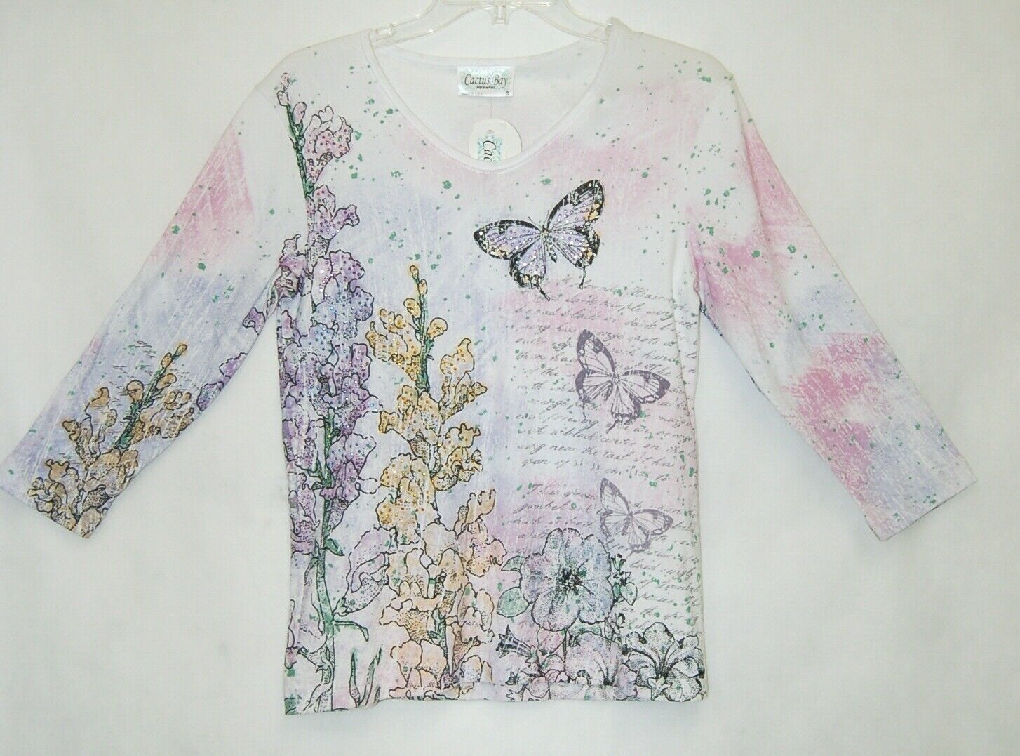 Cactus Bay Apparel Pink Purple White Butterfly Snapdragon Shirt Size Small