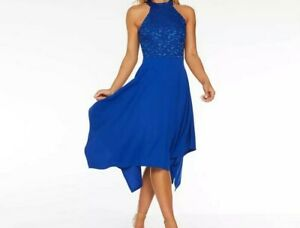 NEW-QUIZ-Royal-Blue-Sequin-Lace-High-Neck-Midi-Dress