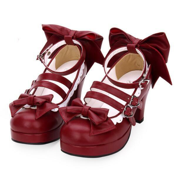 Casual Womens Round Toe Bowknot Block Heels Lolita Sweet Cross Strap shoes News