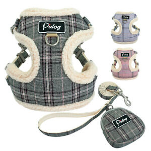 Small-Dog-Harness-amp-Leads-amp-Treat-Bag-Front-Clip-Soft-Pet-Puppy-Cat-Vest-Pink-Grey