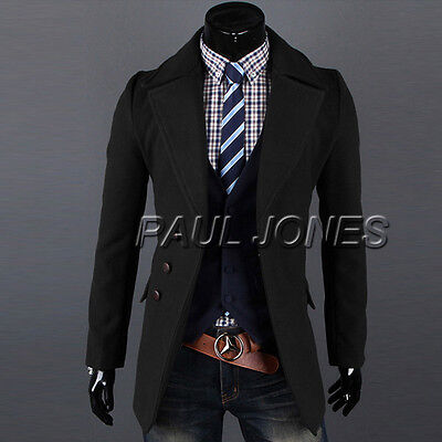 Fashion Korean Mens Slim Fit Stylish Casual Suit Trench Pea Coat Jacket Blazer