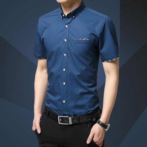 Fashion Slim Mens Formal Shirt Tops Short Sleeve Stand Collar Casual Dress Shirt