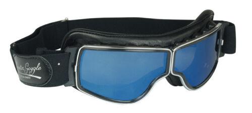 Motorradbrille AVIATOR T2 Classic Brille  Gläser blau Spiegel Rahmen chrom