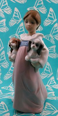 Lladro # 6419 ~ ARMS FULL OF LOVE ~ Girl W/Puppies  **MINT** BUY 1 GET 1 50% OFF