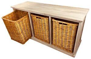 Intelligent Wooden Storage Banquette Avec 3 Osier Paniers à Rayures Coussin Meubles Blanc-afficher Le Titre D'origine