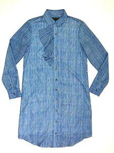 Banana republic striped shirt dress collared blue white size xs career work