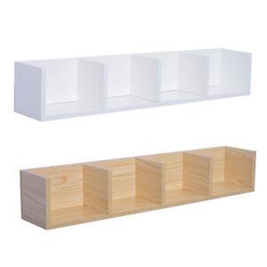 Modern Wall Mount Storage Shelf Cd Media Storage Rack Wooden Unit 4