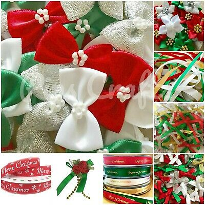 30 SMALL Ribbon Bows 7mm wide mixed pack Christmas colours Red White Green