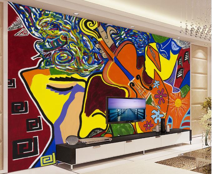 3D Gitarre Abstrakte Malerei 9 Tapete Wandgemälde Tapete Tapeten Bild Familie DE
