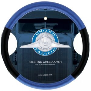 "18"""" Leather Carbon Fiber Style Steering Wheel Cover - Blue"
