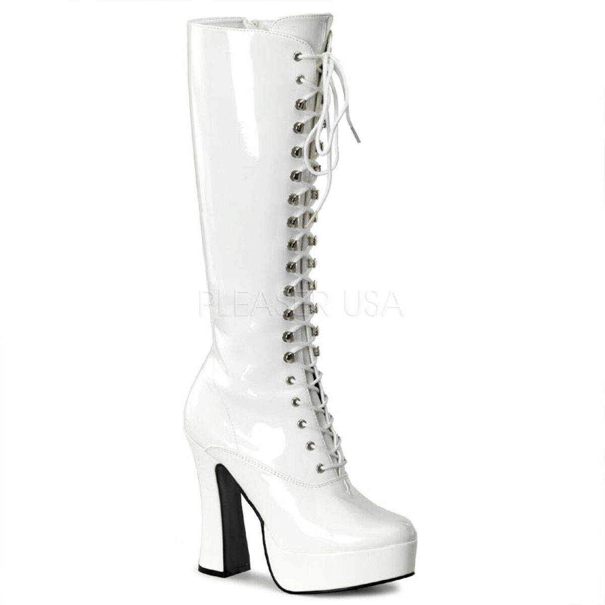 Pleaser ELECTRA-2020 Platforms Exotic Dancing White Patent Knee High Boots