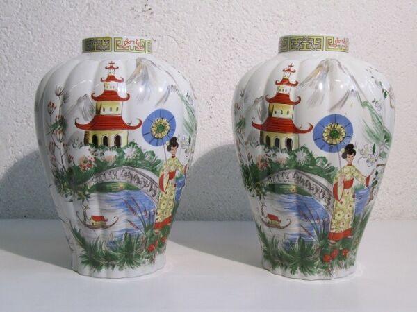 2 Vasi In Porcellana Tognana Con Decorazione Orientale Fine Xx Sec. Buona Reputazione Nel Mondo