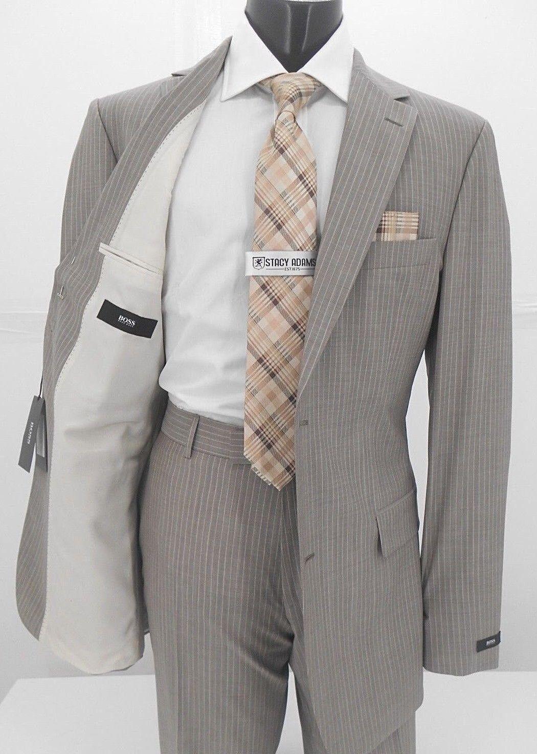 Hugo Boss Tan Stripe 2B Super 100 All Wool  Herren Classic Fit Suit 299.99