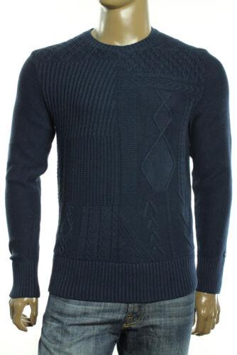 $129 New Mens Tommy Hilfiger Cornelius Cable Knit Navy Blazer Crew Neck Sweater