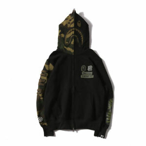 BAPE-A-Bathing-Ape-Coat-Camo-Men-039-s-Shark-Head-FULL-ZIP-JACKET-Hoodie-Sweats