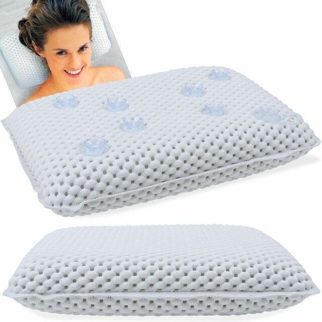 Luxury White Cushioned Bath Pillow Spongy Cushion Spa Head Neck Rest Relaxing