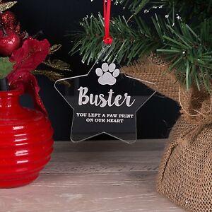 Personalised-Acrilico-Pet-Memorial-Stella-Albero-di-Natale-decorazione-pallina-regalo