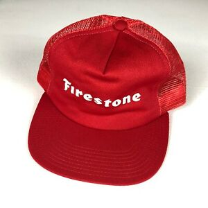 Firestone Snapback Hat VTG Light Foam Front Cap Trucker USA Made Adult One Size