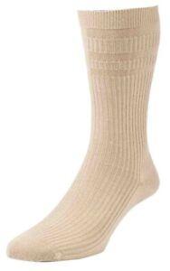1-Pair-Original-HJ-Halls-Soft-Top-HJ91-Oatmeal-Cotton-Rich-Socks-UK-Size-6-11